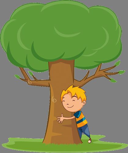 Наклейка «Мальчик и дерево»Деревья<br>Цветная интерьерная наклейка на виниле. Яркая и красивая! Можно сделать любой размер. Трехслойная надежная упаковка. Доставим в любую точку России.<br>