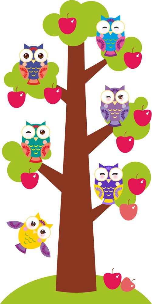 Наклейка «Совы на дереве»