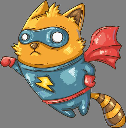 Наклейка «Кот-супергерой»Детские<br><br>