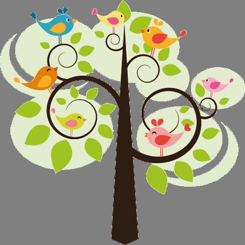 Наклейка «Птички на дереве»Детские<br>Цветная интерьерная наклейка на виниле. Яркая и красивая! Можно сделать любой размер. Трехслойная надежная упаковка. Доставим в любую точку России.<br>
