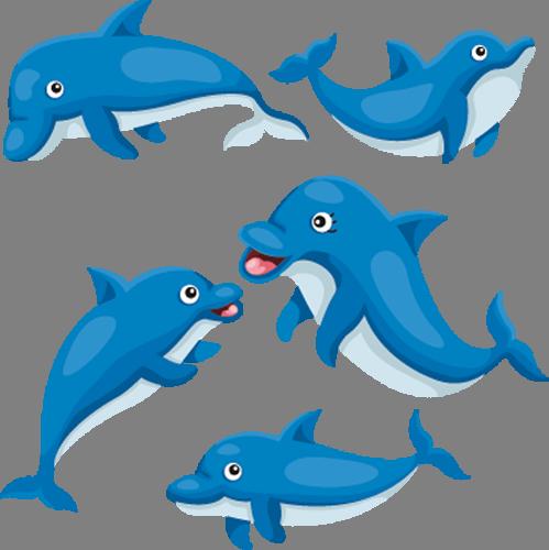 Наклейка «Дельфинчики»Детские<br>Цветная интерьерная наклейка на виниле. Яркая и красивая! Можно сделать любой размер. Трехслойная надежная упаковка. Доставим в любую точку России.<br>