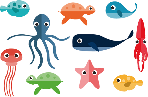 Наклейка «Морские обитатели»Детские<br>Цветная интерьерная наклейка на виниле. Яркая и красивая! Можно сделать любой размер. Трехслойная надежная упаковка. Доставим в любую точку России.<br>