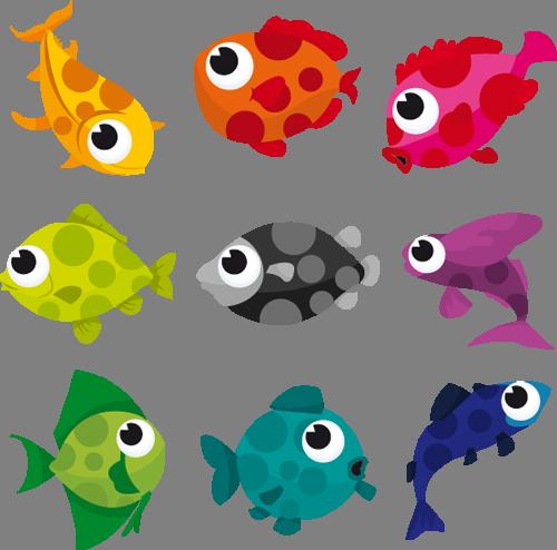 Наклейка «Девять цветных рыбок»