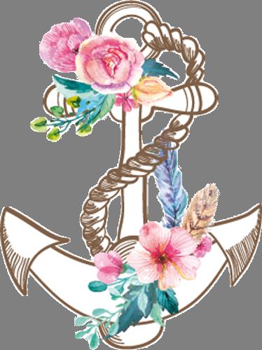 Наклейка «Якорь с цветами»Для ванны, туалета<br><br>