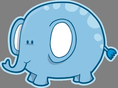 Наклейка «Голубой слон»Животные и птицы<br><br>