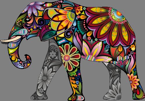 Наклейка «Цветастый слон»Животные и птицы<br>Цветная интерьерная наклейка на виниле. Яркая и красивая! Можно сделать любой размер. Трехслойная надежная упаковка. Доставим в любую точку России.<br>