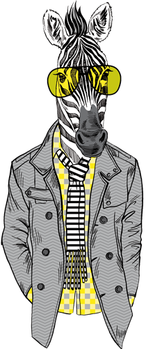 Наклейка «Зебра в очках»
