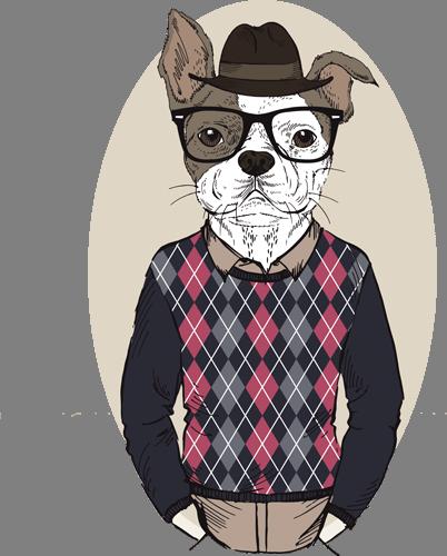 Наклейка «Пёс в шляпе и очках»Животные и птицы<br><br>