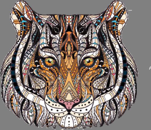 Наклейка «Голова тигра»Животные и птицы<br>Цветная интерьерная наклейка на виниле. Яркая и красивая! Можно сделать любой размер. Трехслойная надежная упаковка. Доставим в любую точку России.<br>