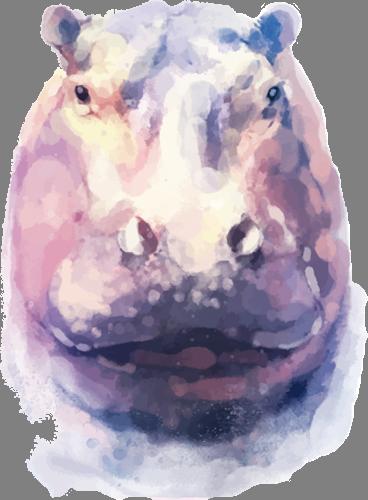 Наклейка «Голова бегемота»