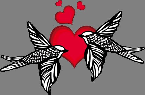 Наклейка «Влюблённые птички»