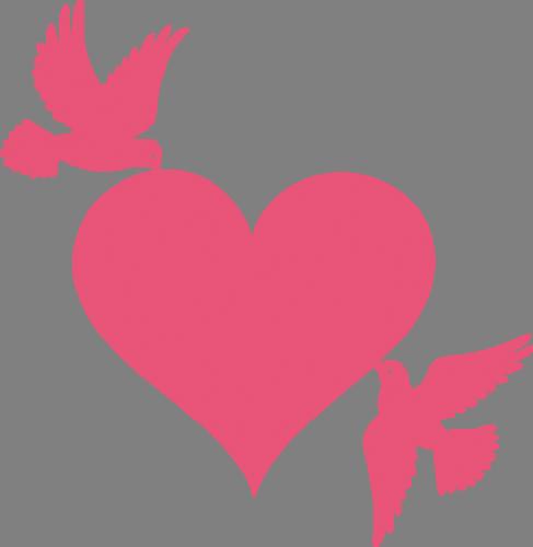 Наклейка «Птички и сердце»