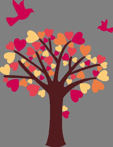 Наклейка «Дерево для влюблённых»Любовь<br>Цветная интерьерная наклейка на виниле. Яркая и красивая! Можно сделать любой размер. Трехслойная надежная упаковка. Доставим в любую точку России.<br>