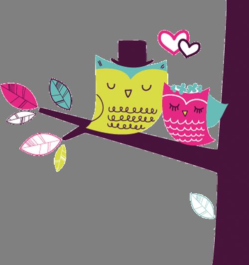 Наклейка «Влюблённые птички на дереве»