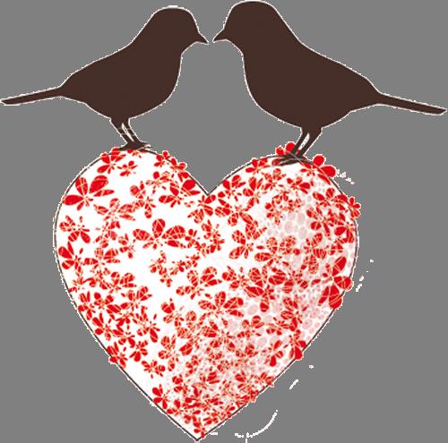Наклейка «Птички на сердечке»Любовь<br>Цветная интерьерная наклейка на виниле. Яркая и красивая! Можно сделать любой размер. Трехслойная надежная упаковка. Доставим в любую точку России.<br>