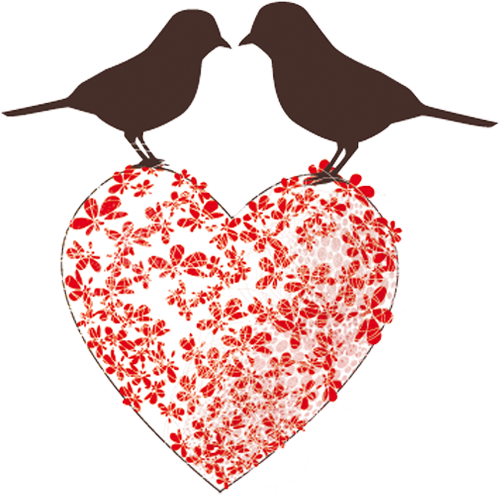 Наклейка «Птички на сердечке»