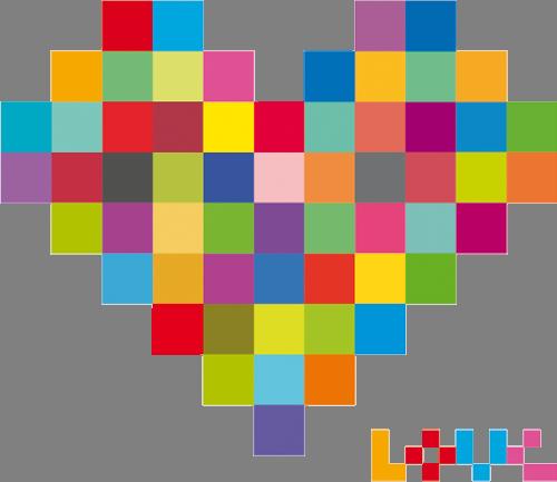 Наклейка «Пиксельное сердце»Любовь<br>Цветная интерьерная наклейка на виниле. Яркая и красивая! Можно сделать любой размер. Трехслойная надежная упаковка. Доставим в любую точку России.<br>