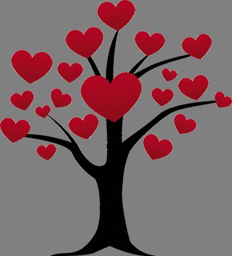 Наклейка «Сердца на ветвях»