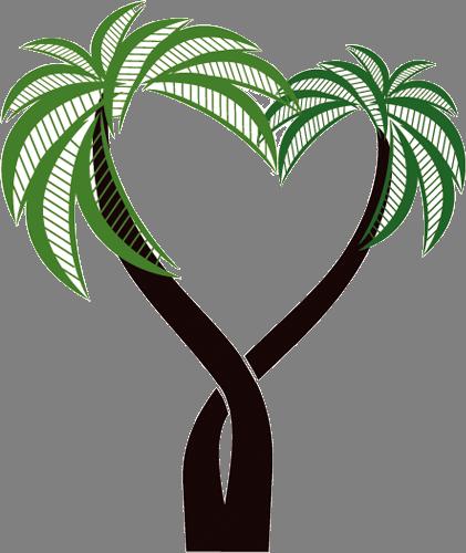 Наклейка «Пальмы сердечком»Любовь<br>Цветная интерьерная наклейка на виниле. Яркая и красивая! Можно сделать любой размер. Трехслойная надежная упаковка. Доставим в любую точку России.<br>
