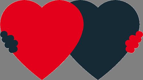 Наклейка «Красное и чёрное сердца»Любовь<br><br>