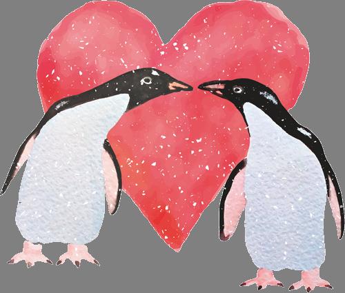 Наклейка «Любовь пингвинов»