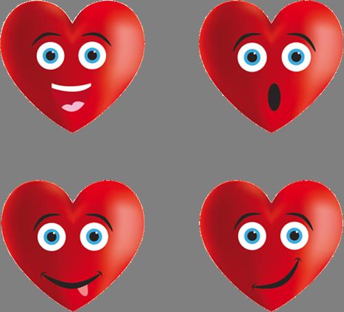 Наклейка «Сердечки-эмоции»