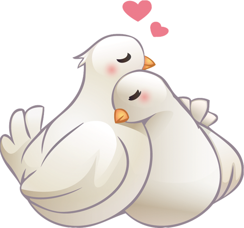 Наклейка «Любовь белых голубей»