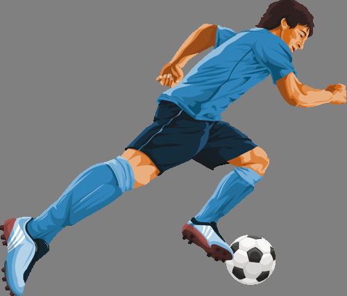 Наклейка «Футболист с мячом»Люди<br>Цветная интерьерная наклейка на виниле. Яркая и красивая! Можно сделать любой размер. Трехслойная надежная упаковка. Доставим в любую точку России.<br>
