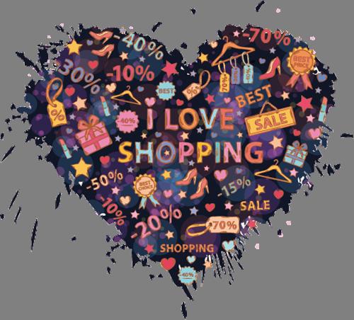 Наклейка «Люблю шопинг»Надписи<br>Цветная интерьерная наклейка на виниле. Яркая и красивая! Можно сделать любой размер. Трехслойная надежная упаковка. Доставим в любую точку России.<br>