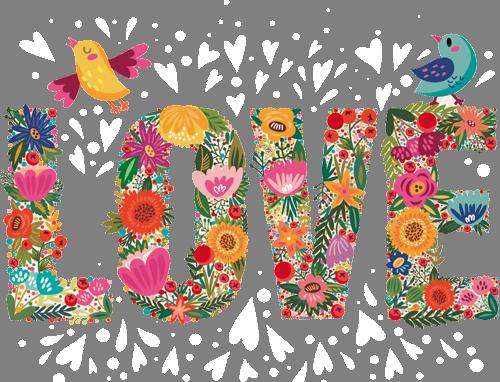 Наклейка «Цветы любви»Надписи<br>Цветная интерьерная наклейка на виниле. Яркая и красивая! Можно сделать любой размер. Трехслойная надежная упаковка. Доставим в любую точку России.<br>