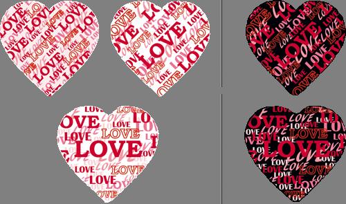 Наклейка «Пять сердец»Надписи<br><br>