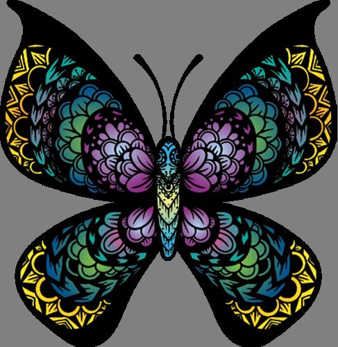 Наклейка «Разноцветная бабочка»Насекомые<br>Цветная интерьерная наклейка на виниле. Яркая и красивая! Можно сделать любой размер. Трехслойная надежная упаковка. Доставим в любую точку России.<br>