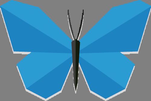 Наклейка  «Бабочка с голубыми крыльями»Насекомые<br>Цветная интерьерная наклейка на виниле. Яркая и красивая! Можно сделать любой размер. Трехслойная надежная упаковка. Доставим в любую точку России.<br>