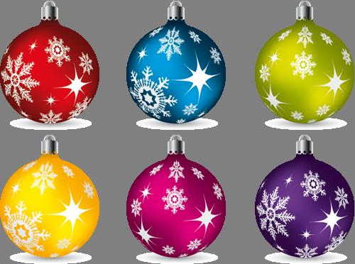 Наклейка «Шесть ёлочных шариков»Новогодние<br><br>