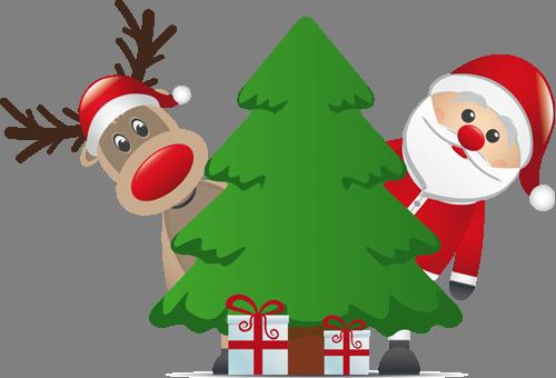 Наклейка «Олень,Санта и ёлочка»Новогодние<br><br>