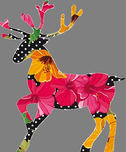 Наклейка «Разноцветный олень»Новогодние<br>Цветная интерьерная наклейка на виниле. Яркая и красивая! Можно сделать любой размер. Трехслойная надежная упаковка. Доставим в любую точку России.<br>