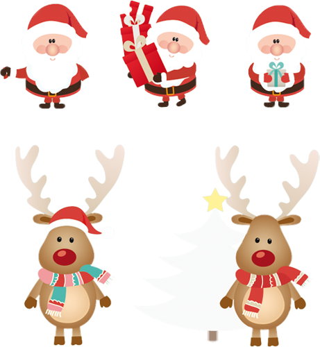 Наклейка «Санта-Клаусы и олени»Новогодние<br><br>