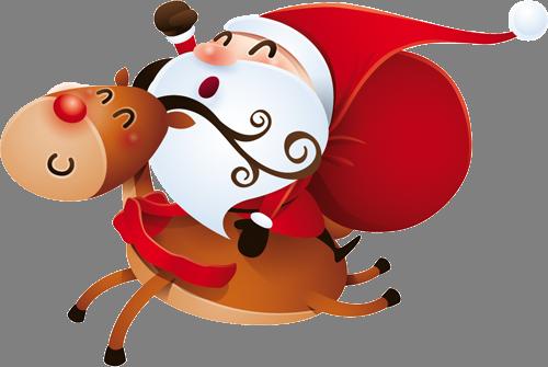 Наклейка «Санта-Клаус на олене»Новогодние<br><br>