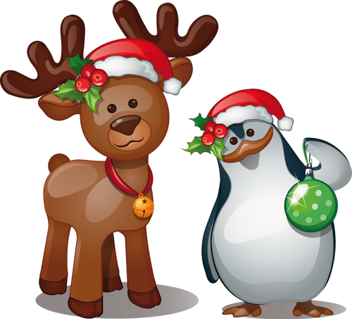 Наклейка «Пингвин и оленёнок»Новогодние<br><br>