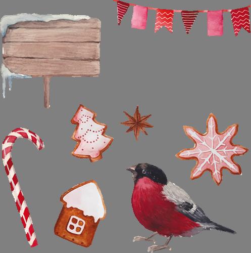 Наклейка «Красногрудая птичка»Новогодние<br><br>