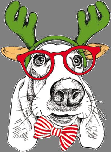 Наклейка «Собака с бабочкой»Новогодние<br><br>