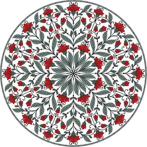 Наклейка «Орнамент с красными цветами»Орнаменты<br>Цветная интерьерная наклейка на виниле. Яркая и красивая! Можно сделать любой размер. Трехслойная надежная упаковка. Доставим в любую точку России.<br>