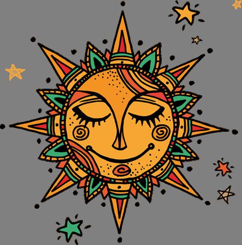 Наклейка «Солнце и звёзды»Орнаменты<br>Цветная интерьерная наклейка на виниле. Яркая и красивая! Можно сделать любой размер. Трехслойная надежная упаковка. Доставим в любую точку России.<br>