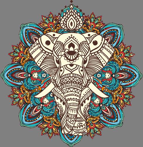 Наклейка «Орнамент-слон»Орнаменты<br>Цветная интерьерная наклейка на виниле. Яркая и красивая! Можно сделать любой размер. Трехслойная надежная упаковка. Доставим в любую точку России.<br>