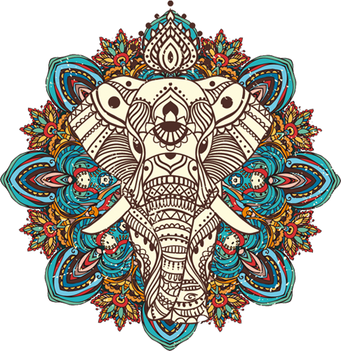 Наклейка «Орнамент-слон»