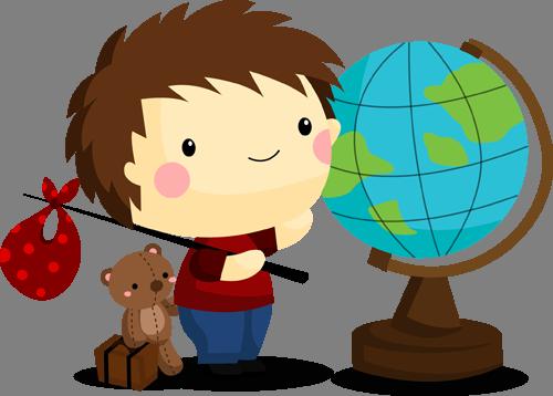 Наклейка «Мальчик и глобус»Путешествия<br>Цветная интерьерная наклейка на виниле. Яркая и красивая! Можно сделать любой размер. Трехслойная надежная упаковка. Доставим в любую точку России.<br>