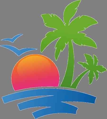Наклейка «Пальмы и закат»