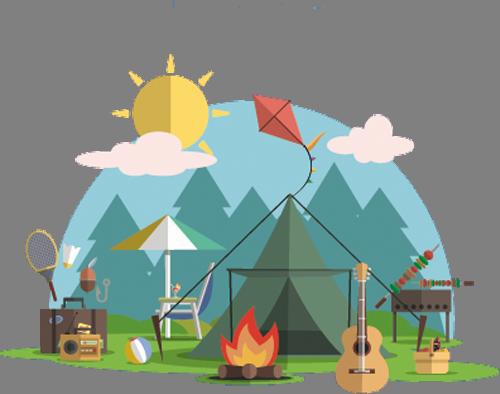 Наклейка «Лагерь в лесу»Путешествия<br><br>