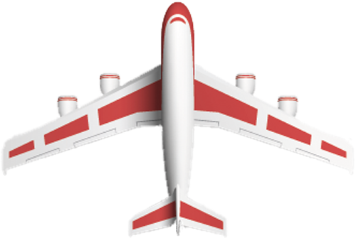 Наклейка «Бело-красный самолёт»Транспорт<br><br>