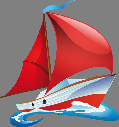 Наклейка «Красный парусник»Транспорт<br><br>